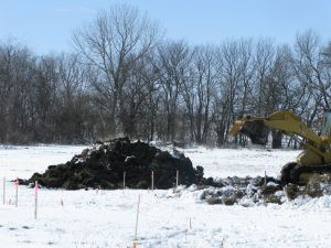 The first, beautiful pile of topsoil